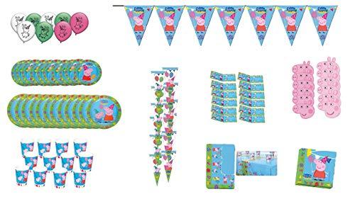 2699; Peppa pig verjaardagspakket, 12 gasten; ideaal voor het decoreren van uw feest of verjaardag; 1 wimpel (totaal 3 strekkende meter), 12 feestzakjes, 12 maskers; 12 uitnodigingen, 8 ballonnen, 12 platen 18 cm; 12 borden 23 cm, 12 glazen 220 ml, 20 servetten, 1 plastic tafelkleed 120x180 cm