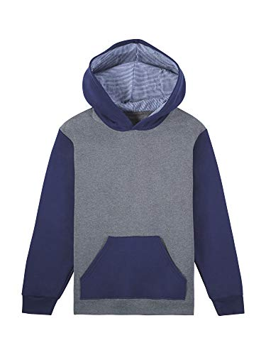 Fruit of the Loom Boys' Fleece Hoodie Sweatshirt, Charcoal Heather/Ghost Times Square Navy Stripe, Large