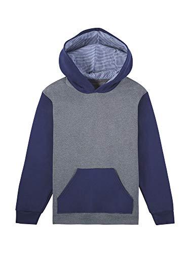 Fruit of the Loom Boys' Fleece Hoodie Sweatshirt, Charcoal Heather/Ghost Times Square Navy Stripe, Small