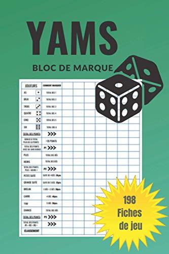 Jeu Yams : Carnet de scores: 198 Feuilles de Scores | Yams Grille de score | yahtzee bloc de marque.: Jeu Yams : Carnet de scores
