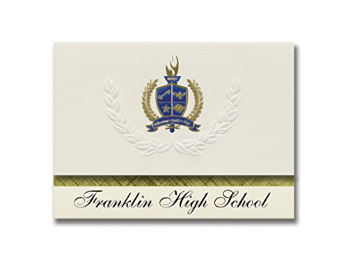 Signature Announcements Franklin High School (El Paso, TX) Graduation Ankündigungen, 25 Stück, Gold & Blau Metallic Folie, 15,9 x 29 cm, Creme (PAC_BASICPres_HS25_150943_206044)