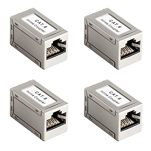 4 Stück CAT6 Kupplung LAN Kabel Adapter Netzerwerkkabel Kupplungen Patchkabel Ethernet Kabel Adapter Verbinder RJ45 Kupplung Adapter für Verlängerung Ethernet Kabel