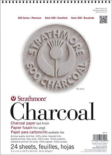 Strathmore Paper 500 Series Charcoal Pad, 18'x24', White, 24 Sheets