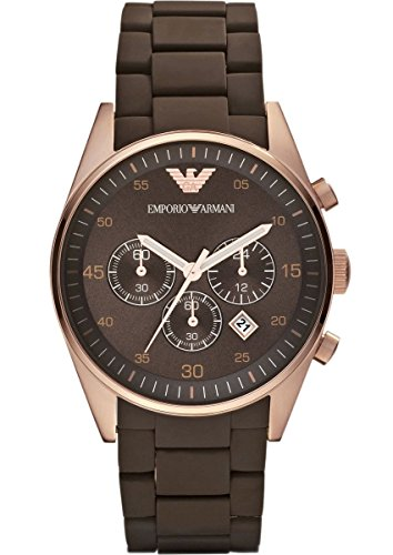 EMPORIO ARMANI AR5890 Heren QUARTZ ROSE GOLD SPORT SILICONE STAINLESS STAAL CHRONOGRAPH WATCH