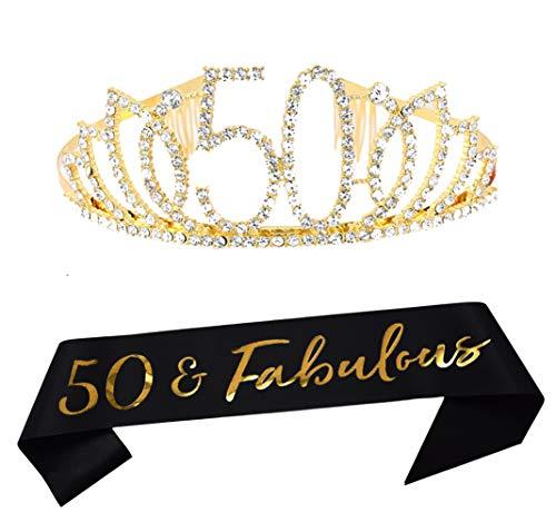50th Birthday Tiara and Sash Happy 50th Birthday Party Supplies 50 Fabulous Black Glitter Satin Sash and Crystal Tiara Princess Birthday Crown for Women 50th Birthday Party Decorations