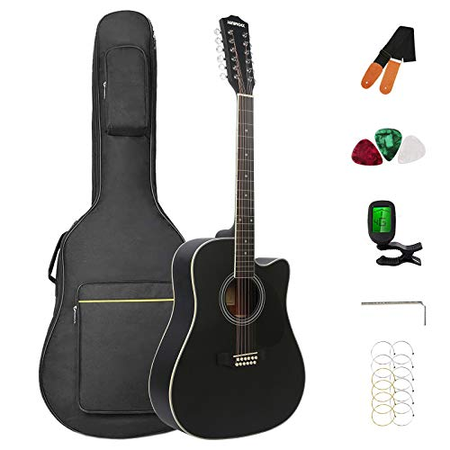 12 String Acoustic Guitar Cutaway,Adjustable Truss Rod Full Size Bundle with Gig Bag,Tuner,Strings,Strap, Picks, Black By Janerock