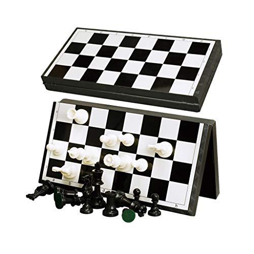 FEANG Juego de Ajedrez Gran Conjunto de ajedrez de ajedrez de plástico Conjuntos de ajedrez magnético de plástico con Tablero de ajedrez Plegable Divertido Juego de Juegos de Mesa Ajedrez y Damas