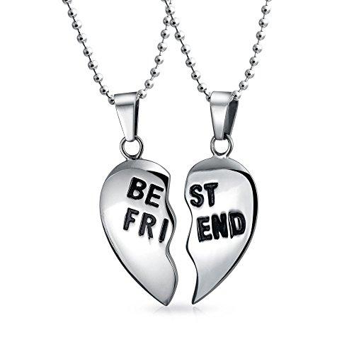Bling Jewelry Separar 2Pc Regalo para Mejor Amigo Puzzle Colgante Corazón Collar para La Mujer Adolescente Acero Inoxidable Tono Plata
