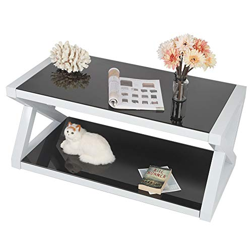 Modern Coffee Table Rectangular High Gloss Living Room Table Coffee Table with Shelf Tempered Glass for Living Room Bedroom 100 x 50 x 44 cm Black