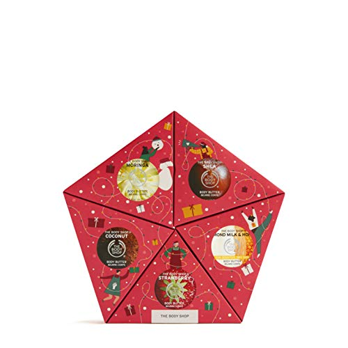 The Body Shop Slather and Nourish Body Butter- 5pc Holiday Gift Star, With Fruity, Floral and Nutty Body Moisturizers