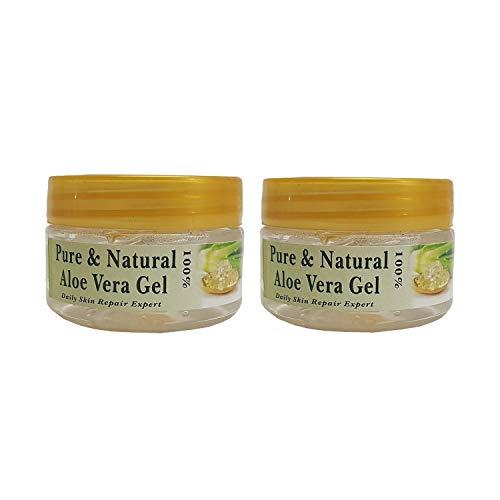 R V Essential Reines Aloe Vera Gel (50g+50g) Zweierpackung - Für junge und strahlende Haut (ungiftig und chemikalienfrei) Pure Aloe Vera Gel