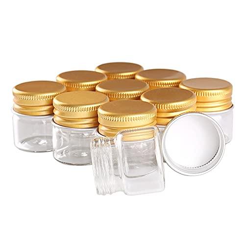 FEIHAIYANY TLG - Tarros de almacenamiento de alimentos, 12 unidades, 10 ml, 30 x 30 mm, botellas de vidrio con tapas de aluminio dorado, frascos de vidrio pequeños