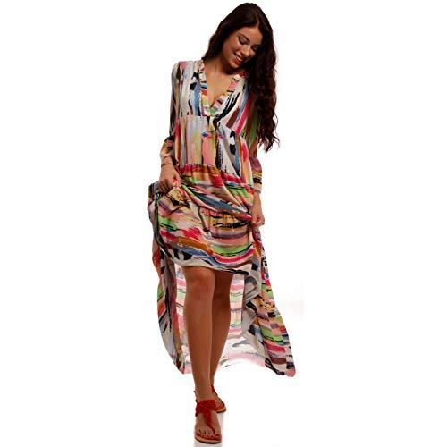 YC Fashion & Style Damen Boho Maxikleid Strandkleid Freizeit Sommer oder Herbstkleid Kleid Hippie Kleid Plus Size Made in Italy (One Size, Multicolor)