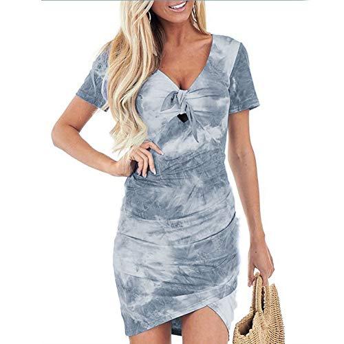 LILIJIA Robe imprimée à Manches Courtes pour Femmes Irrégulière col en V Tie-Dye Plissée Stretch Robe Moulante Beach Party,Gris,L