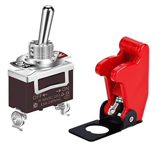 DaierTek Safety Cover Toggle Switch Guard ON Off 2 Pin Red Aircraft Covered 20A 12VDC / 120VAC SPST for Car Truck Automotive