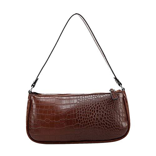 Hanwuo Bolsa de hombro para axilas, diseño de cocodrilo, estilo vintage, de piel sintética, para mujeres y niñas.