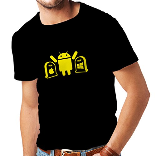 Männer T-Shirt Der Gewinner ist Android - Geschenk für Tech-Fans (Large Schwarz Gelb)