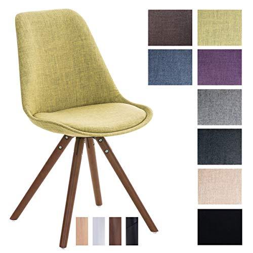 CLP Retrostuhl PEGLEG mit Stoffbezug I Gepolsterter Schalenstuhl mit Holzbeinen und Einer Sitzhöhe 46 cm, Farbe:grün, Gestell Farbe:Walnuss