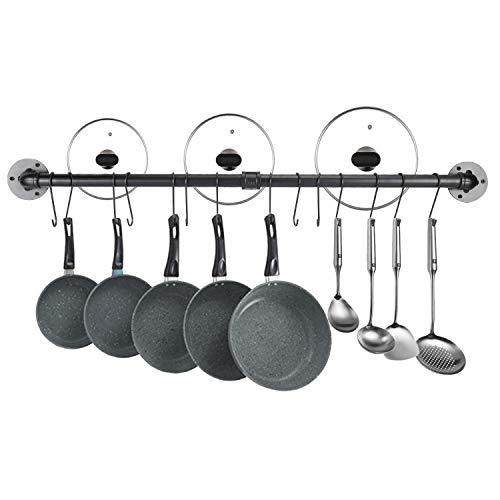 Homtone Pot Bar Rack 100cm Wall Mounted Detachable Pans Hanging Rail Kitchen Lids Utensils Hanger Black Pipe Pot Rack with 14 Detachable S Hooks