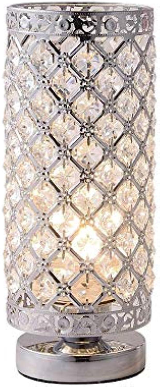 Crystal Table Lampe Lampe Lampe poliert Chrome Nacht Light E27 Base für Bedroom Bedside Study Room Living Decoration (Ohne Lichtquelle)