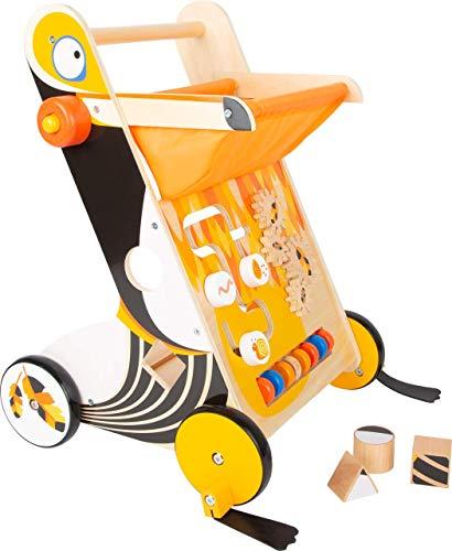 Lauflernwagen aus Holz ab 1 Jahr | Baby Lauflernhilfe mit Bremse und gummierten Rädern | Gehhilfe Spielzeug zum laufen lernen mit Spiel und Lern-spaß für Kinder ab 12 Monate | Tukan