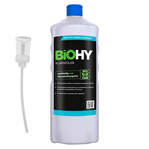 BiOHY Abrillantador (1 botella de 1 litro) + Dosificador   Apto para todos los lavavajillas   para un brillo inmejorable en los vasos y platos sin manchas de agua (Klarspüler)