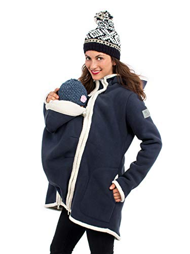 Viva la Mama I Umstandsmode Mantel Winterjacke Damen Tragejacke mit Einsatz Winter Fleece - Arctica blau - L