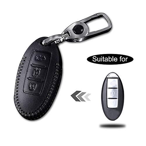 Schlüssel Hülle Leder Auto Schlüsseltasche mit schlüsselanhänger für 3-Tasten Keyless Go Fernbedienung Autoschlüssel Schwarz Nähen 1 Stück Modell A