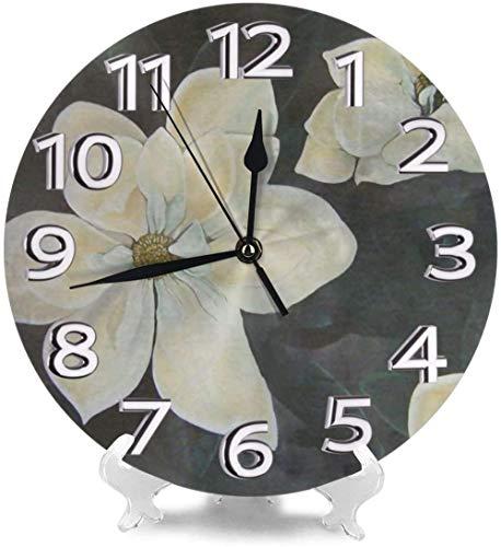 SXXXIT Reloj de Pared Magnolia Jardín Relojes de Escritorio Metal Mudo para Gimnasio Cocina Creatividad precisa