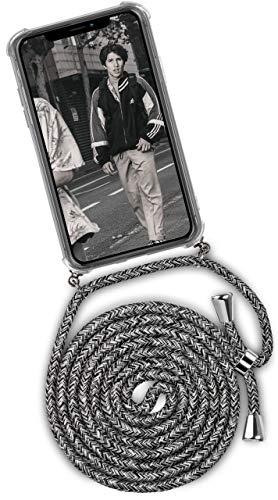 ONEFLOW Handykette kompatibel mit iPhone 11 - Handyhülle mit Band zum Umhängen Hülle Abnehmbar Smartphone Necklace - Hülle mit Kette, Schwarz Grau Weiß