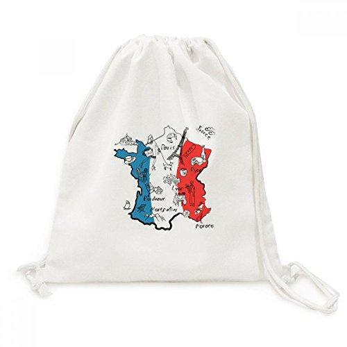 DIYthinker Viaje de la Bandera Nacional Mapa de la Ciudad Francia Landmark Lienzo morral del Lazo Bolsas de la Compra