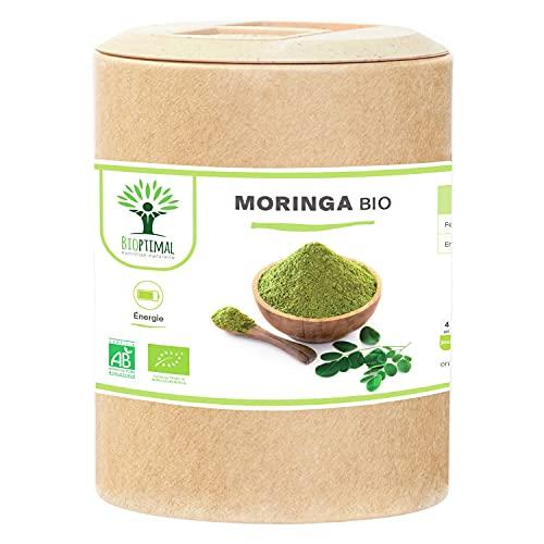 Moringa Bio - Bioptimal - Complément alimentaire - Poudre de Moringa Oleifera Pur - Antioxydant Immunité Anti-Fatigue Vitamine A C E - Dose 300 mg - Fabriqué en France - Certifié Ecocert - 200 gélules