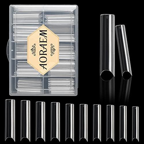 100 Stück Curve Nail Tips Vollständige Abdeckung Klar Extra lange quadratische künstliche Nägel mit Box für DIY Nail Art (Clear)