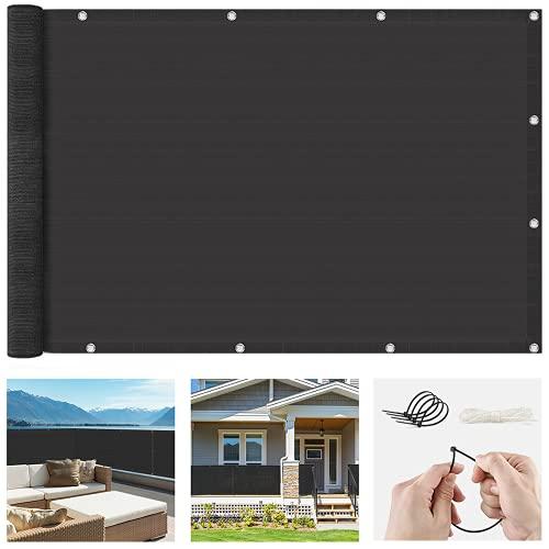 EZGETOP Balkon Sichtschutz Balkonabdeckung HDPE 220 g/m², Leicht Transparent Wind- und UV-Schutz Wetterfest, mit Ösen (0.75x6, Schwarz)