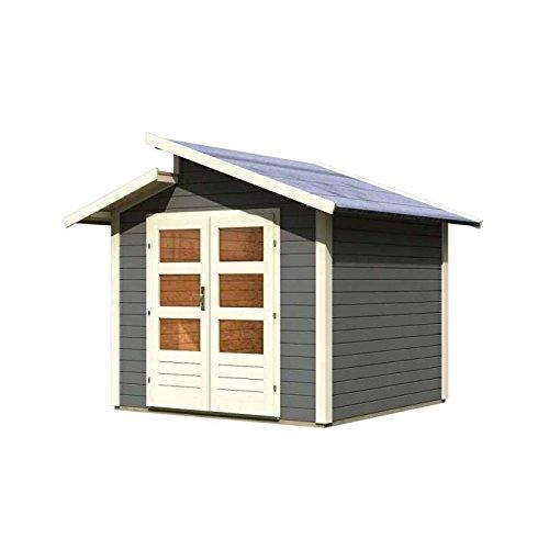 Karibu Gartenhaus 28mm Grönelo grau 297x302cm