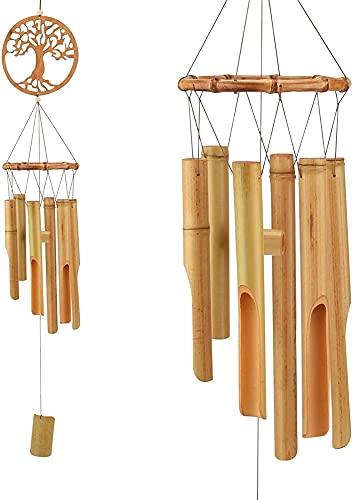 ZFQZKK Regali Bamboo Wind Chimes, Albero della Vita Vento Chime Handmade Musica di Legno Chimes per Esterni, Decor Outdoor, Patio, Giardino, Casa campanelli eolici da Giardino