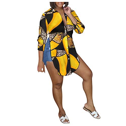 Camisa de Manga Larga Estampada con Cuello En V Casual para Mujer Camisa con Dobladillo Curvo Top de Camisa con Botones de Moda con Aberturas Laterales