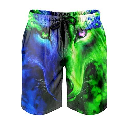 Dessionop Pantalones cortos de playa para hombre, diseño de fantasía, color azul y verde lobo con estampado de luna, con forro de bolsillo, moda White S