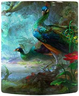 Bird Colorful Colors Flower Forest Green Peacock Peafowl Tree Heat Sensitive Color Changing Coffee/Tea Mug Magic Gift Choice For Christmas/Birthday Gift