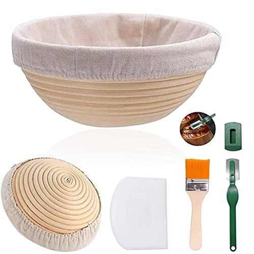 Cesta de fermentación para pan, 25 cm, redonda, para 900g de masa de pan, juego de caña de rota natural con paño de lino y espátula hecha a mano, brush, raspador