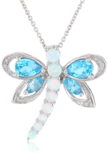 Jewelili Sterling Silver Multi-Gems and Genuine White Diamond Dragonfly Pendant Necklace, 18' Rolo chain