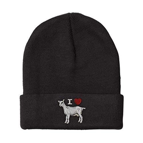 Beanie for Men & Women I Love Heart Goats Embroidery Acrylic Skull Cap Hat Black 1 Size