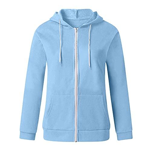 Soupliebe Sweatjacke Damen Zip-Hoodie Oversized-Kaputzenjacke Sweatshirt-Jacke: mit Kapuze Hoodie Jacke (Hellblau, M)