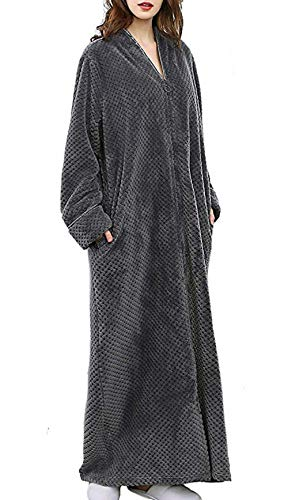 Pronghorn Damen Langarm Bademantel Nachtwäsche Morgenmantel Lange Maxi Robe, Grau, XL