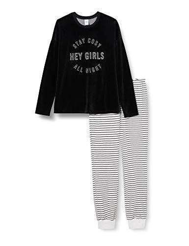 Sanetta Mädchen Pyjama Long Moon Grey Kuschelweicher Nicki-Schlafanzug Anthrazit mit geringelter Hose, grau, 176