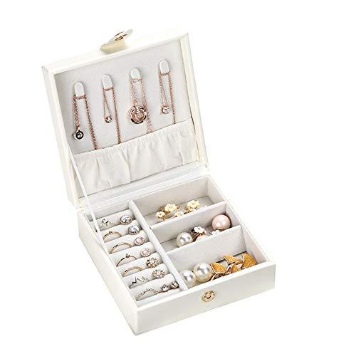 YINGZU Donna Piccola Jewelry Box Organizer PU Portatile in Pelle per collane Orecchini Anelli Bracciali Rossetto Trucco e Accessori,White