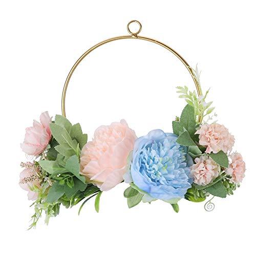 Corona de aro de Flores Artificiales, Plantas Colgantes, decoración de Pared Artificial,...