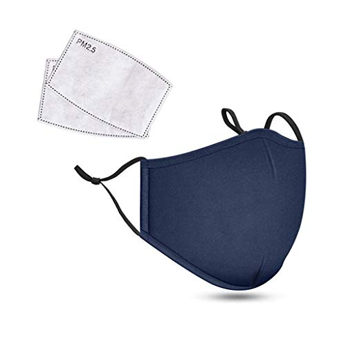 Reusable Face Cover with 2 PCS Replacement Sheet Dustproof Cotton Safety Half Face Scarf Balaclava for Outdoor Sport Bicycle Mountain Air Purifying Protects Mouth and Nose (1 PCS, Blue)