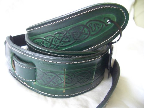 Celtic Knot Design Real Leather Guitar Strap With 6 Free Plectrums - Green