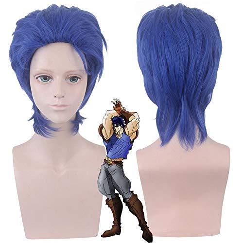 COJETER Anime Jonathan Joestar Royal Blue Short Cosplay Maquillaje Lavable 40cm Ligero hacia adentro Peluca de cola de pelo rizado para niño